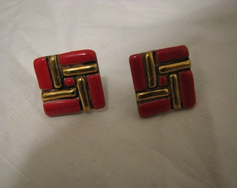 Chinese Red Tile Earrings