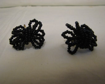 Jet Black Screw Back Earrings Beaded c.1915
