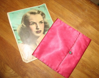 1950's Satin Boudoir Pouch Jewelry and Vintage Star Photo