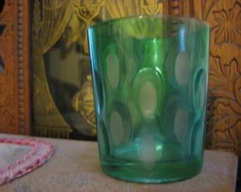 Antique Green Thumbprint Juice Glass Tumbler