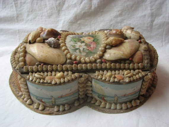 Victorian Sailor Valentine Authentic Sea Shell Box Fancy 120 Year Old