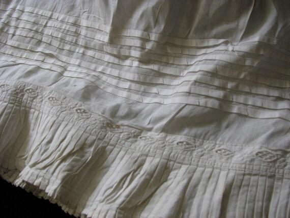 Victorian 1850's Infant Christening Under Slip Tucks, Pleats and Lace Insert