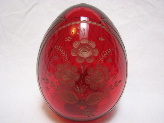 Reserved for RL Ruby Red Russian Faberge Glass Egg