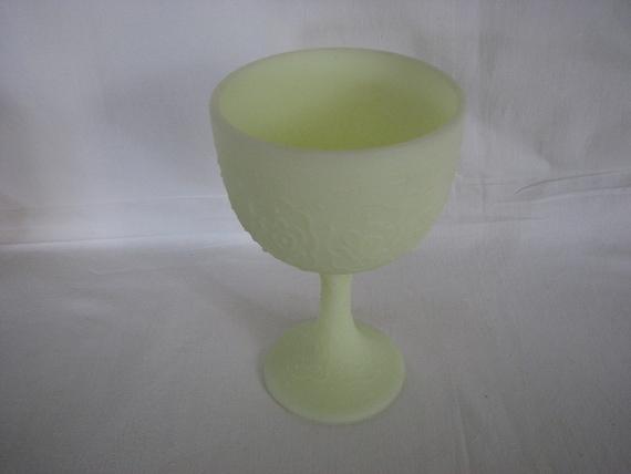 Fenton Persian Medallion Lime Green Custard Chalice