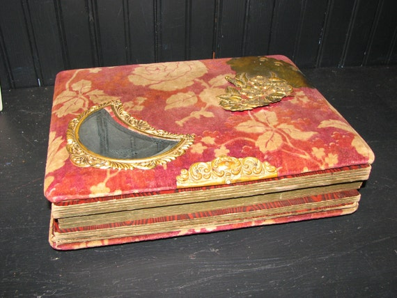 Red Velvet Roses Victorian Photo Album W Gilt Moon Mirror