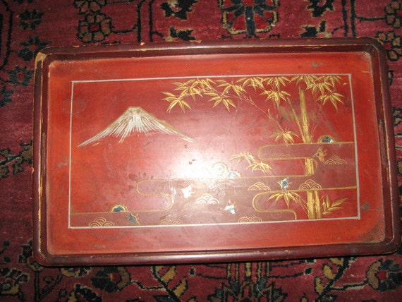 Japanese Lacquer Tray Inlaid Mother Of Pearl