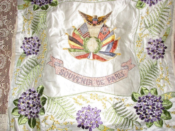 Vintage Patriotic 1920s Paris Souvenir French Embroidered Flags and Violets Table Topper