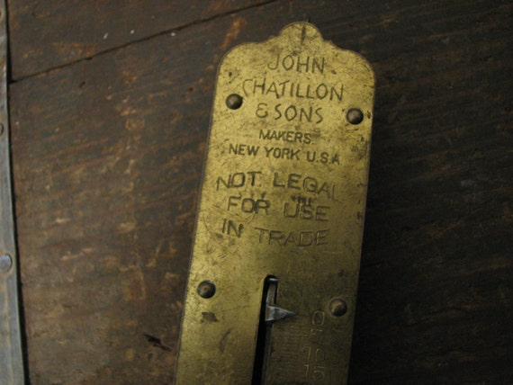 John Chatillon and Sons Antique Hanging Scale Brass 50 lbs.