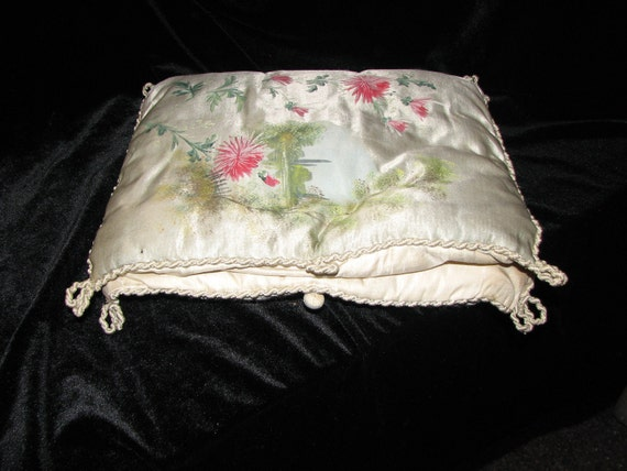 French Hand Painted on Silk Lingerie Pillow Boudoir 1920's Trousseau