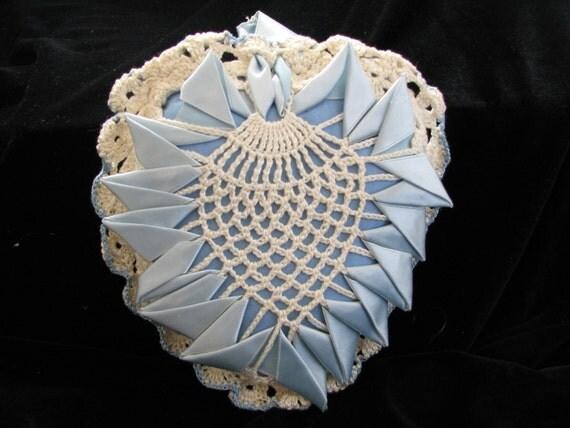 Blue Heart  Pin Cushion Satin and Lace