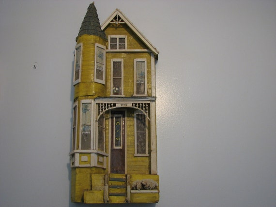 Reserved for  VintageTidbit  Victorian Doll House Fascade Decorative Shabby Chic Yellow