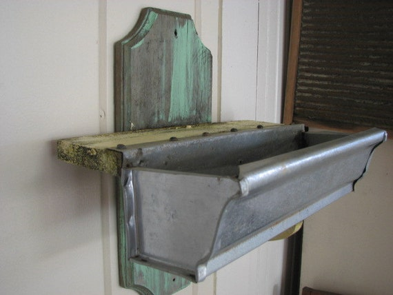 Vintage Wall Planter Made from Feeding Trough Primitive Farm