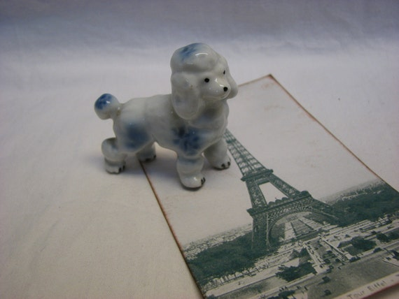 Blue French Poodle Figurine