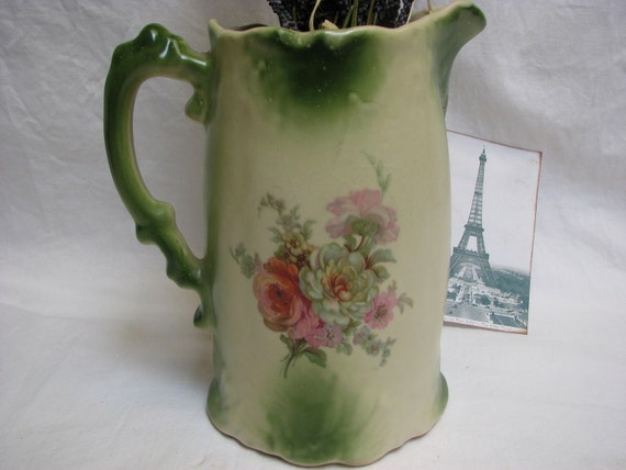 Cottage Chic Vintage Cabbage  Roses Green and Pink Large Pitcher