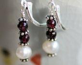 white pearl and garnet earrings