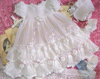 Crochet Christening  Gown Outfit - Baby dress blanket and booties pdf e pattern by Delsie Rhoades download through Etsy