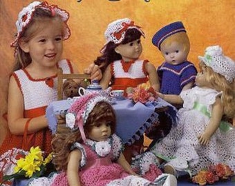Crochet for Dolly and Me by Delsie Rhoades size 2- 6 & 18 inch doll pattern (dress will fit American Girl doll) download through Etsy