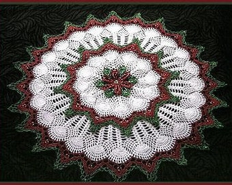 Christmas Bead Crochet Patterns for Teddy Bear Snowflake 3 Snowflakes and Poinsettia Doily by Delsie Rhoades Download through Etsy