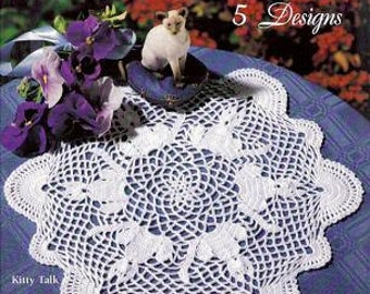 Crochet 5 Pretty Doilies Patterns pdf This set  Includes the Popular Kitty Talk Doily Pattern by Delsie Rhoades downloadable through Etsy