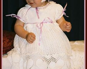 CROCHET PATTERN Sweet Heart Christening outfit  dress or gown blanket, bonnet and booties by Delsie Rhoades download through Etsy