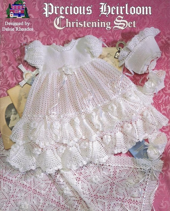 CROCHET PATTERN Christening  Gown Outfit - Baby dress blanket and booties pdf by Delsie Rhoades download through Etsy