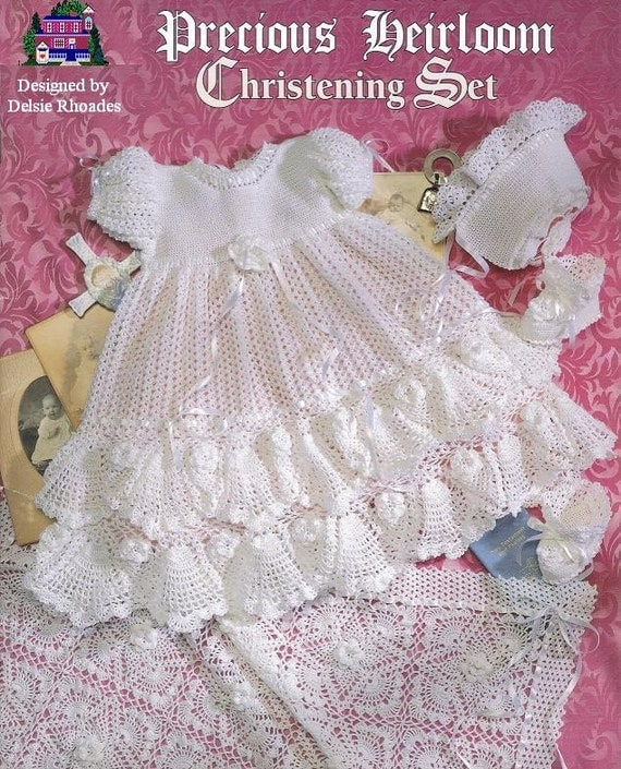 Crochet Precious Heirloom Christening Set Gown Outfit - Baby dress blanket and booties pdf e pattern by Delsie Rhoades download through Etsy