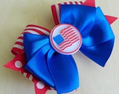 Red White and Blue Patriotic Layered Hair Bow - Patriotic Hairbow -  Red Blue White Bow (Set of 1)