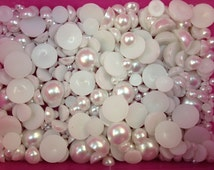 500pc White Assorted Size Flat Back Pearls Cabochons Fpk1