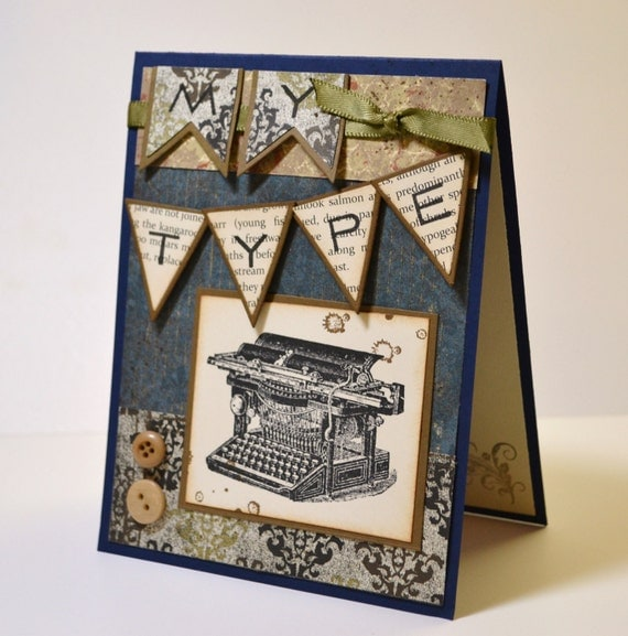 MY TYPE Masculine Card, Vintage Typewriter Card, Classy Anniversary Card, Love Note, Masculine Birthday Card