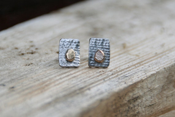 Irish Linen- sterling silver and brass studs earrings