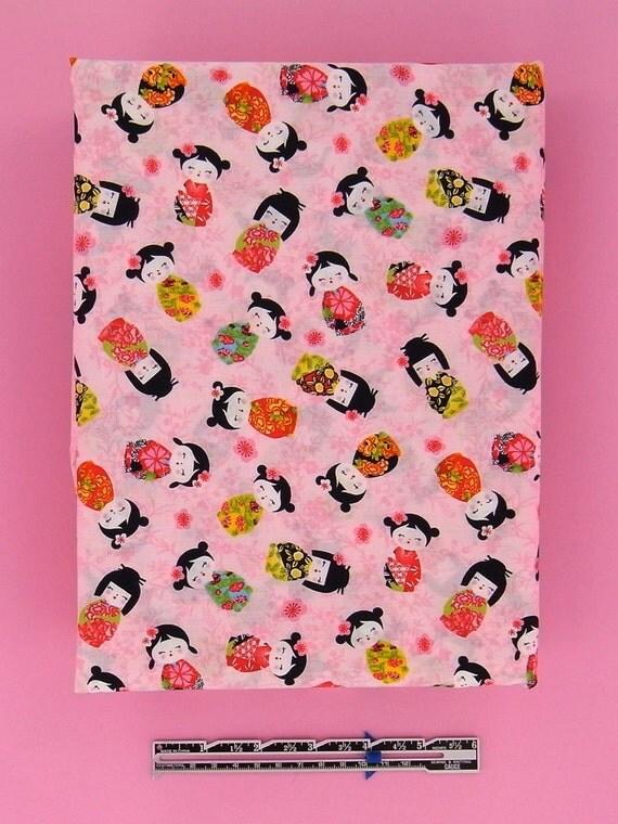 KOKESHI DOLL Lightweight Cotton Fabric in pink, 1 meter / 1,10 yards