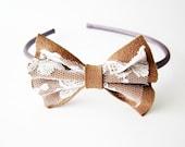 Cute bow headband, lace head band, leather bow headband, brown bow hair fascinator, hair bow fascinator, bridesmaids hair bow headband bow