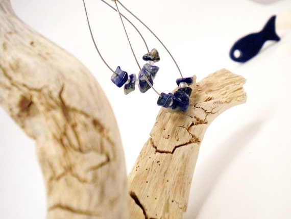 50 PERCENT OFF SALES Sea summer breeze lapis lazuli and white glass seed beads earrings free combined shipping