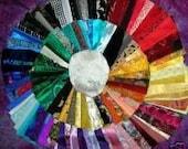 "Lot - Fancy Crazy Quilt Fabrics - 80 pcs -8"" sq. -Satins, Silks, Velvets, etc."