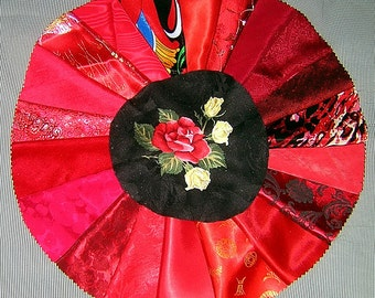 20 PCS Radiant Red Crazy Quilt Fabrics for Crazy Quilts, Art Quilts & Art projects