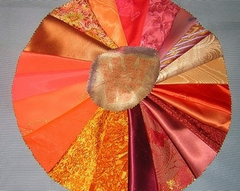 20 PCS Outrageous Orange Crazy Quilt Fabrics for Crazy Quilts, Art Quilts & Art projects