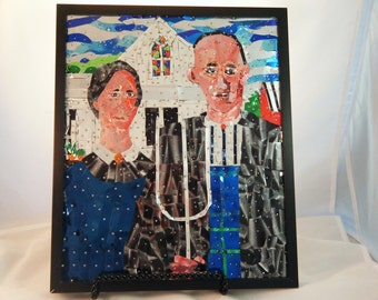 American Gothic, made with soda pop cans, Aluminum Art, Recycled Art, Pop Can Art