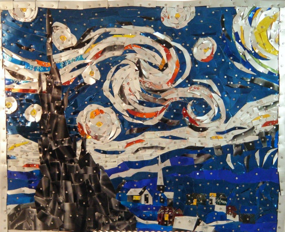 Starry Starry Night, Starry Night, Van Gogh Reproduction, Aluminum Can Art, Recycled Art, Pop Can Art
