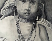 Indian Girl Graphite Drawing