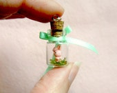 Tiny pink bunny in a bottle - miniature terrerium pendant