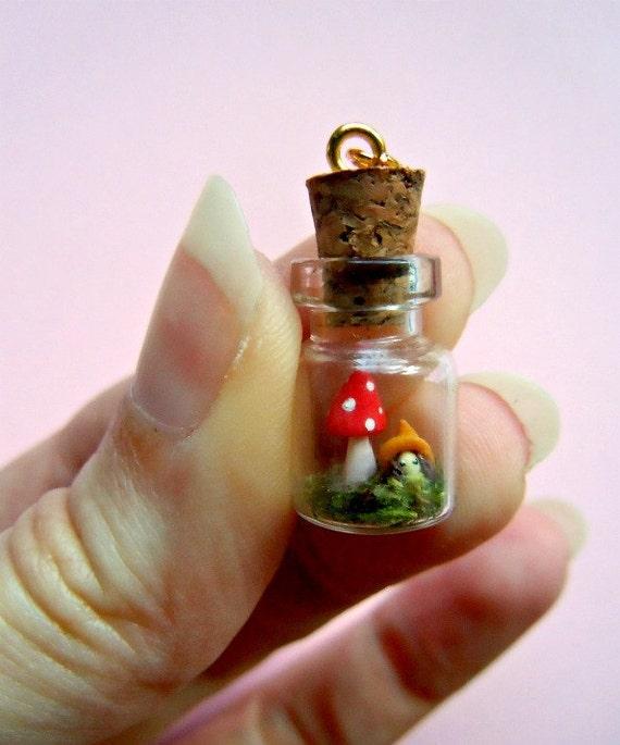 Gnome and mushroom in a bottle - tiny terrarium pendant