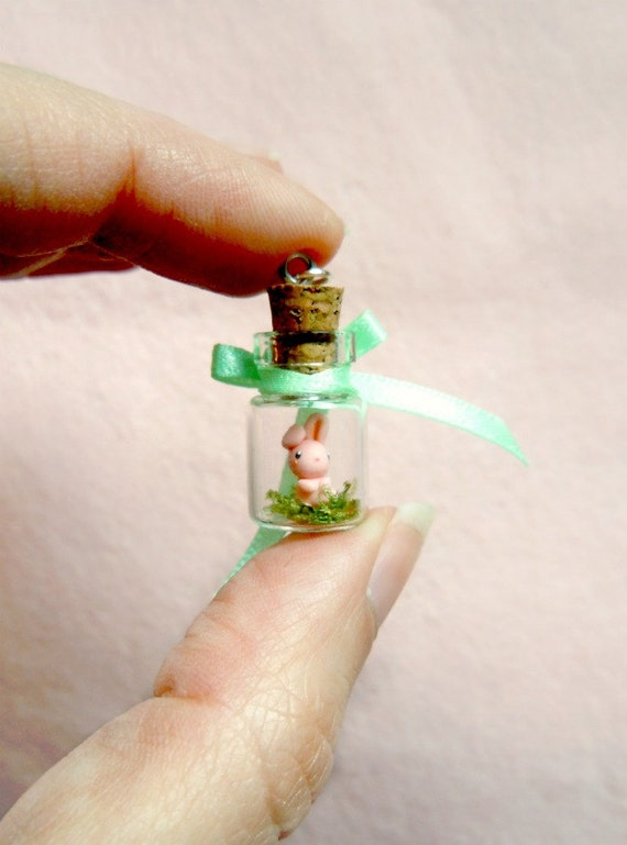 Tiny pink bunny in a bottle - miniature terrerium pendant
