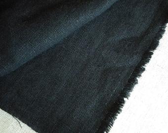 Wide black linen cotton 1yard linen fabric (56 x 36 inches)