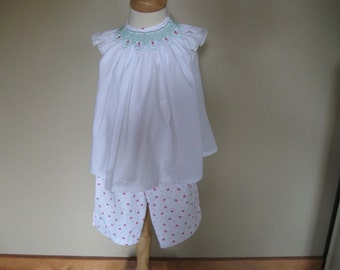 Smocked Strawberry Bishop Top and Capris sz3