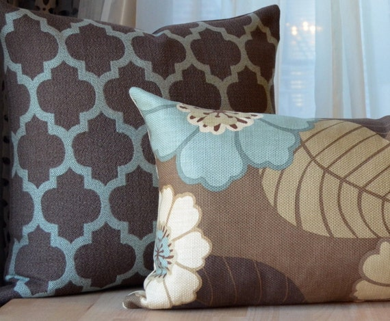 Modern Family Pillows On Couch : Brown and Blue Pillow Brown Pillow Aqua by septemberHOME on Etsy