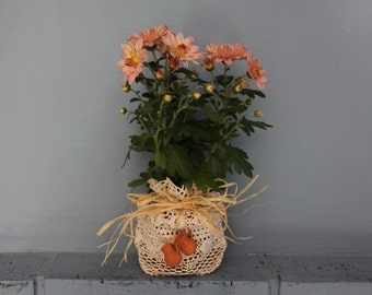 A lace plant-pot holder with ceramic ornaments