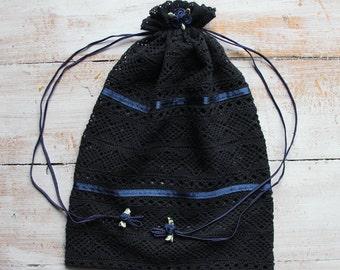 Lingerie bag, Travel bag, Multi-Purpose Black Lace Bag With Navy Rose Ornaments
