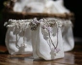 FOREST BLANC -- Hand-Loomed, Hand-Embellished Little Silk Bags in White and Silver - Set of 3