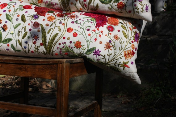 SPRING RITE -  Hand  Embroidered Pillowcase