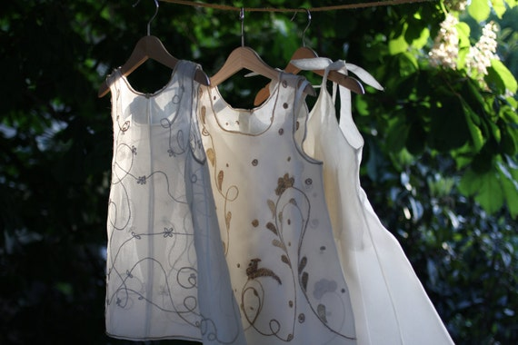 INVISIBLE FRIENDS No. 2 - Hand Tailored Hand Embroidered Silk Girl's Dress - Shadow Play